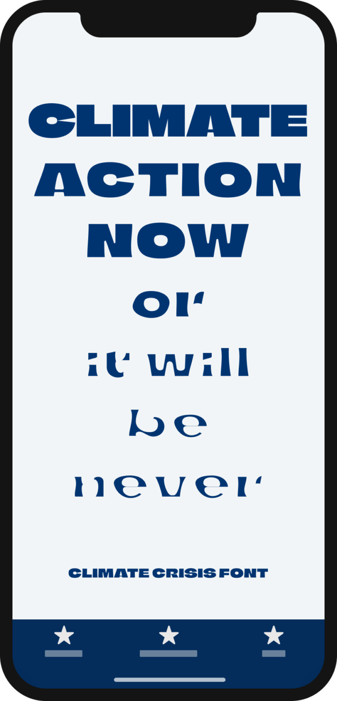 The words Climate Action Now or it will be never written on a mobile phone, very bold on the top and almost disappearing at the end
