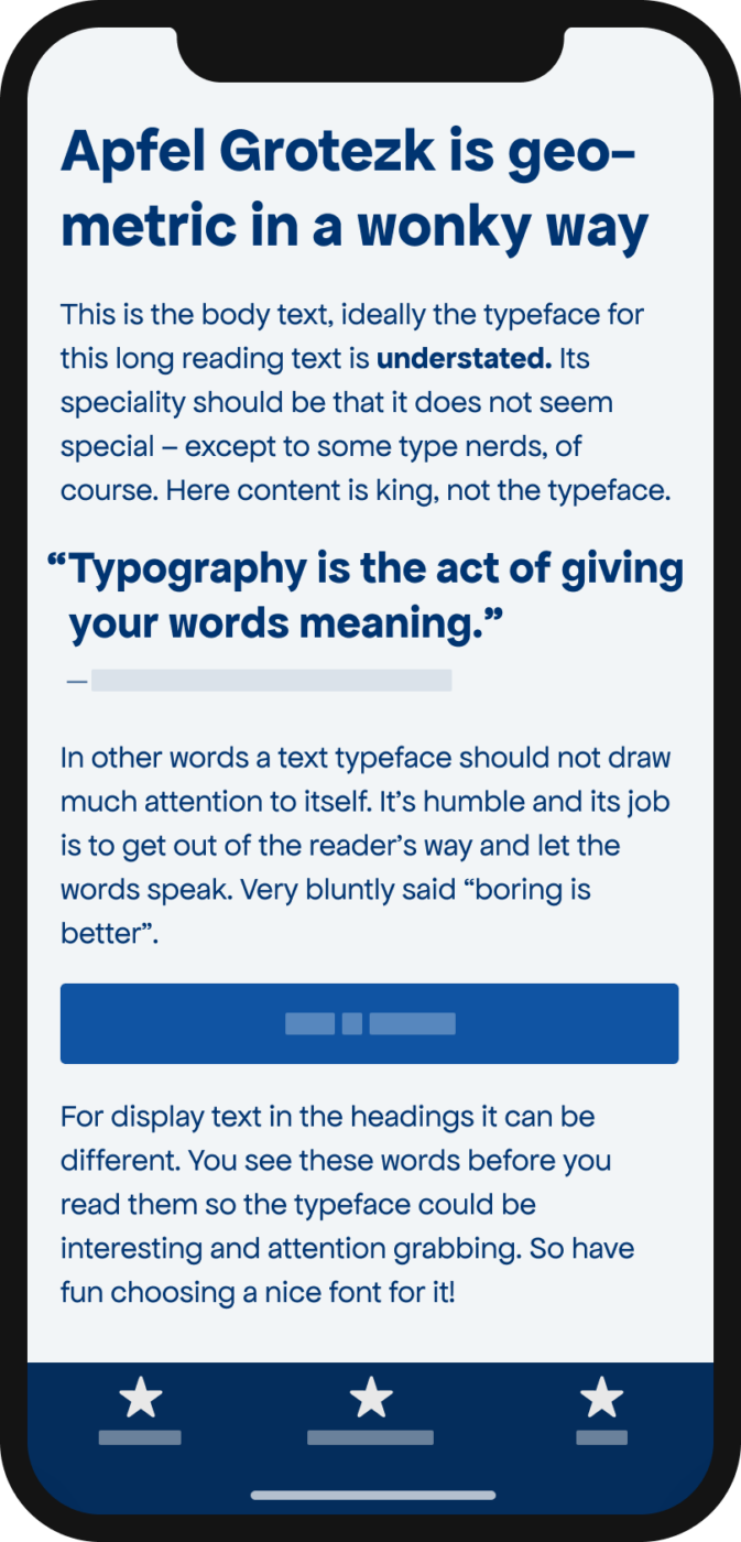 The rounded geometric sans-serif typeface Apfel Grotezk shown on a mobile phone in a headline, a pull quote, and the body text.